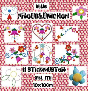 ♥little FREUblümchen♥ FLOWER POWER Stickmuster 10x10cm