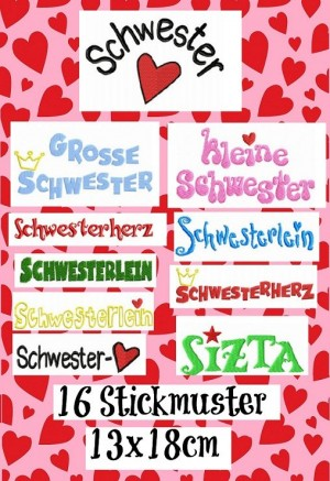 ♥SCHWESTERHERZ♥ FONTS German EMBROIDERY 13x18cm