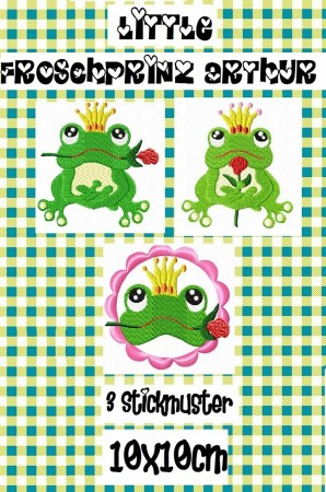 ♥little FROGPRINCE ARTHUR♥ Embroidery-File 10x10