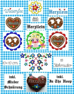 ♥little HERZILEIN♥ Bavarian FOLK embroidery-file SET 10x10cm