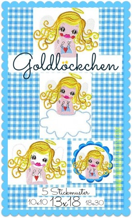 ♥GOLDIE GOLDLoeCKCHEN♥ Embroidery FILE 13x18 Guardian ANGEL
