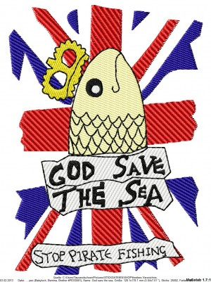 ♥GOD save the SEA♥ Embroidery 13x18cm