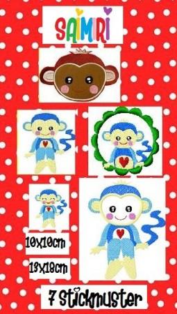 ♥SAIMIRI♥ Blue MONKEY Äffchen STICKMUSTER