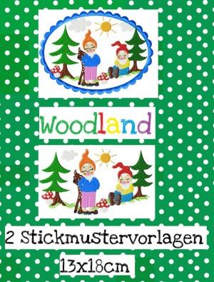 ♥WOODland♥ Stickmuster 13x18cm ZWERGE