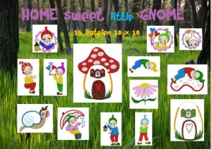 ♥HOME sweet LITTLE Gnome♥ Stickmuster ZWERGE 13x18cm