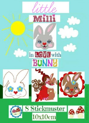♥little MILLI in LOVE with BUNNY♥ STICKMUSTER Stickdatei 10x10cm