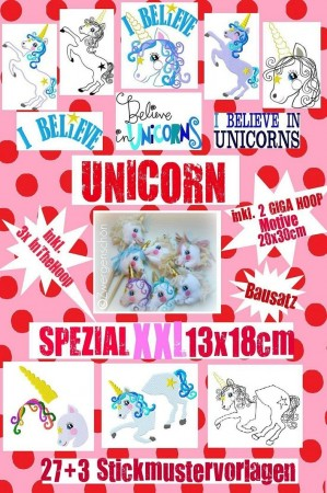 ♥UNICORN Special XXL♥ Embroidery FILE-SET 13x18+GIGA HOOP+ITH