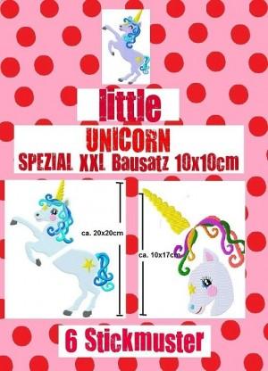 ♥little UNICORN Spezial XXL 10x10cm♥ Stickmuster EINHORN