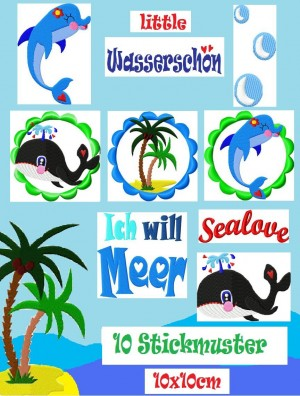 ♥little WASSERSCHoeN♥ Sea LOVE Embroidery-FILE-Set 10x10cm