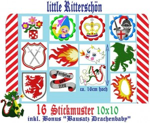♥little RITTERSCHÖN♥ Stickmuster SPEKATAKULUM 10x10cm