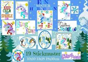 ♥ONEwinterHORN♥ Winter WONDER Unicorn EMBROIDERY-FILE Set 13x18 18x30