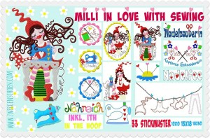♥MILLI in LOVE with SEWING♥ Embroidery-File SET XL 10x10 13x18 18x30cm