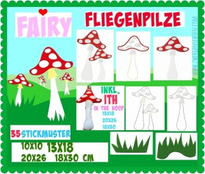♥FAIRY ToadSTOOL♥ Embroidery FILE Mushrooms ITH 10x10 13x18 18x30 20x26