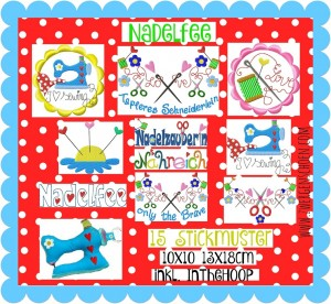 ♥NADELFEE♥ Stickdatei I LOVE SEWING Buttons, Schriften