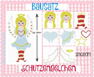 ♥BUILDING SET♥ Guardian ANGEL Embroidery File Set 10x10cm