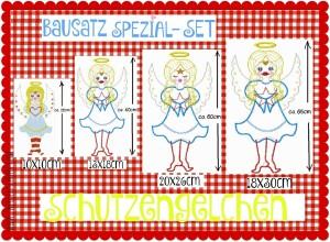 ♥BAUSATZ SPEZIAL 4in1♥ Schutzengel STICKMUSTER 4 Größen