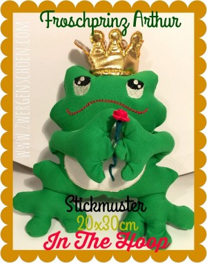 ♥FROGprince ARTHUR♥ Embroidery FILE 20x30cm IN THE HOOP