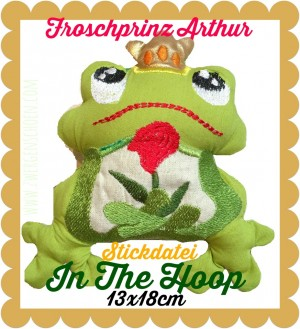♥FROSCHprinz ARTHUR♥ ITH Stickmuster 13x18cm IN THE HOOP