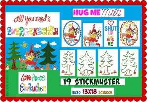 ♥HUG ME♥ Milli EMBROIDERY FILE SET 13x18 18x30 20x30cm