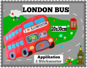 ♥LONDON BUS♥ Embroidery XXL 20x30cm