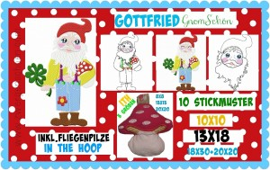 ♥GOTTFRIED♥ Embroidery FILE Gnome incl. ITH
