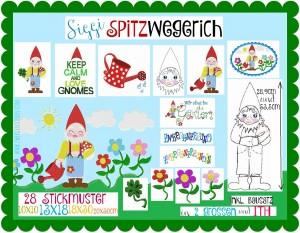 ♥SPITZwegerich♥ Stickdatei GARTENZWERG Gnome GARTENSCHÖN Spezial