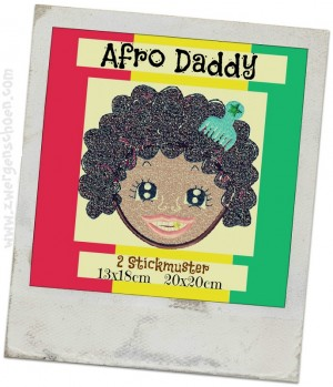 ♥AFRO Daddy♥ Stickdatei APPLIKATION 13x18 20x20cm 1€-SPARbie