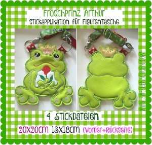 ♥FROGPRINCE Arthur♥ EMBROIDERY File SET Figurine BAG etc 20x20cm (13x18cm)