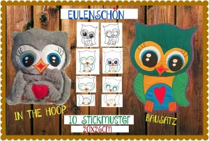 ♥EULENSCHoeN♥ Embroidery OWLS ITH Special 20x26cm