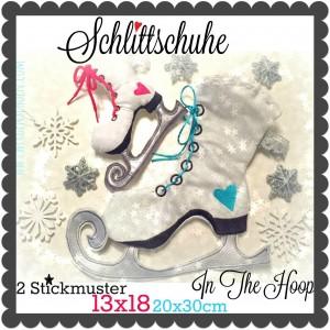 ♥SCHLITTSCHUHE♥ Stickmuster ITH 13x18 20x30cm