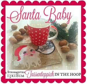 ♥TASSENTEPPICH♥ Santa Baby WEIHNACHTEN Stickmuster ITH 13x18cm