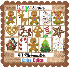 ♥GINGERschoen♥ Embroidery FILE-Set GINGERBREAD 10x10 13x18cm