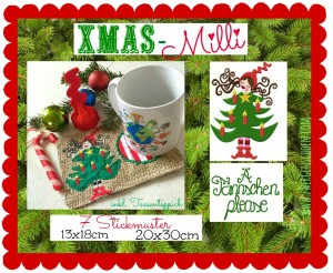 ♥Xmas MILLI♥ Embroidery FILE Set CHRISTMAS Tree MUG RUG