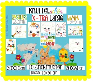 ♥KNUFFELschön Xtra-LARGE♥ Embroidery FILE-SET 18x30 20x20 20x26 20x30cm