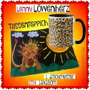 ♥TASSENTEPPICH♥ Stickmuster ITH LöwenHERZ Löwe 13x18cm
