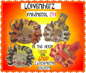 ♥HANGOVER♥ LION BABY Key Fob Snap TAB 10x10cm EMBROIDERY FILE Ith