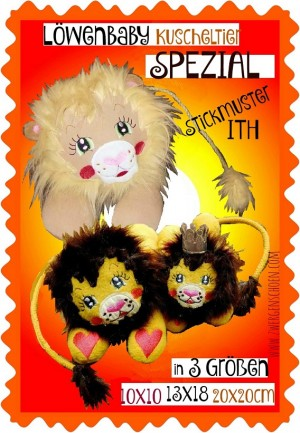♥LION-BABY♥ Embroidery PET Lion ITH 10x10 13x18 20x20cm