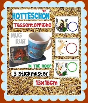 ♥HOTTESCHoeN♥ MUG RUG Embroidery-FILE-Set PONY Horse 13x18cm