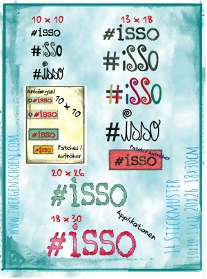 ♥#isso♥ Embroidery GERMAN 10x10 13x18 18x30 20x26cm