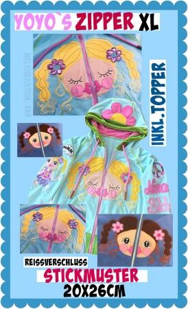 ♥ZIPPER YOYO♥ Embroidery-FILE-Set YOGASCHoeN 20x26cm (+BONUS: TOPPER!!!)