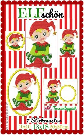 ♥ELFschoen♥ ELVES Embroidery MUG RUG ith 10x10 13x18 20x30cm