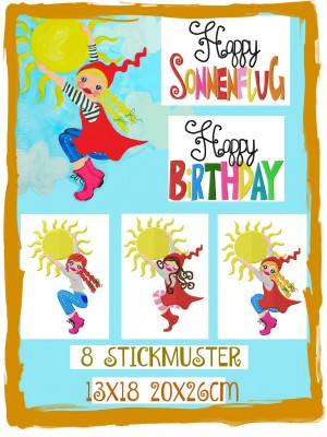 ♥SONNENFLUG♥ Embroidery FILE-Set BIRTHDAY Milli&Co. 13x18 20x26cm