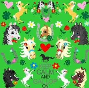 ♥HOTTEHue♥ 0.5m WOVEN COTTON green HORSES Pony LOVE