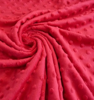 ♥MINKY♥ 0.5m FLEECE 3-D Dots RED