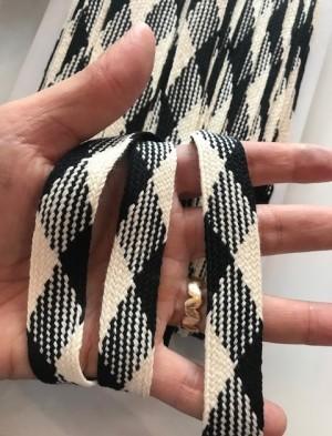 ♥FLACHKORDEL♥ Kordel VICHY schwarz KARIERT 2cm BREIT