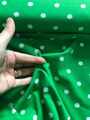 ♥POLKA DOTS♥ 0.5m JERSEY Waldmeister PUNKTE grün 1cm