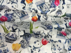 ♥HOLLAND♥ Delft POPELINE Cotton DIGIprint PRICE PER 0.5 METER