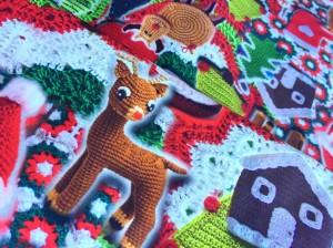 ♥kitschy CHRISTMAS♥ 0.5 (!)m COTTON Popline CHROCHET print