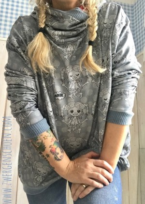 ♥YOYO YOGASCHoeN♥ 0.5m SWEATER grey/black SKETCHY