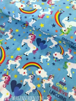 ♥little UNICORN♥ 0.5m JERSEY türkis EINHORN
